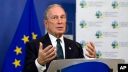 FILE - Michael Bloomberg, U.N. special envoy for cities and climate change, speaks to reporters at EU headquarters in Brussels about cities' cooperative efforts to combat climate change, June 22, 2016.
