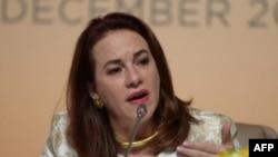 """María Fernanda Espinosa, presidenta de la Asamblea General de las Naciones Unidas, dijo que el pacto ayudaría a """"fortalecer la asistencia y protección de los 25 millones de refugiados a nivel mundial""""."""