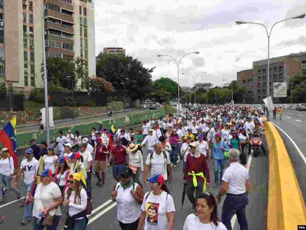 La oposición venezolana también marchó para pedir por la liberación de los presos políticos. Foto: Álvaro Algarra/VOA