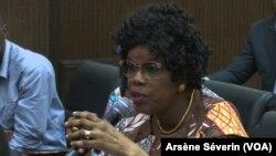 Bernadette Ondze la députée de Makotimpoko plaide pour l'aide aux populations sinistrées, à Brazzaville le 24 novembre 2019 (VOA/Arsène Séverin)
