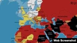 """Χάρτης της οργάνωσης """"Δημοσιογράφοι Χωρίς Σύνορα"""" που απεικονίζει την κατάσταση της Ελευθερίας του Τύπου σε χώρες γύρω από την Ελλάδα"""