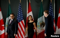 From left, Mexico's Economy Minister Ildefonso Guajardo, Canada's Foreign Minister Chrystia Freeland and U.S. Trade Representative Robert Lighthizer.