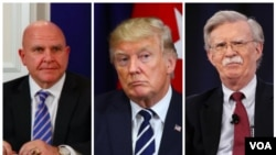 From left, National Security Adviser General HR McMaster, President Donald Trump and former UN Ambassador John Bolton.