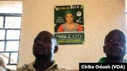 Ndi Kato's campaign flyer is posted on a wall in a hotel in Kafanchan, a town in Kaduna State.