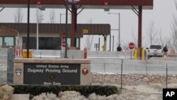FILE - The main gate at Dugway Proving Ground military base.