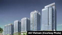 Khu phức hợp các toàn chung cư Hapulico Complex tại Hà Nội. Dân cư đang sinh sống ở đây bị ban quản trị cho là bị Việt Tân kích động biểu tình và gây rối trận tự. (ACI Vietnam)