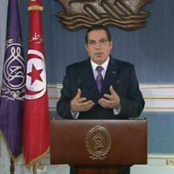 Zine el-Abidine Ben Ali making a speech on Tunisian TV earlier this month