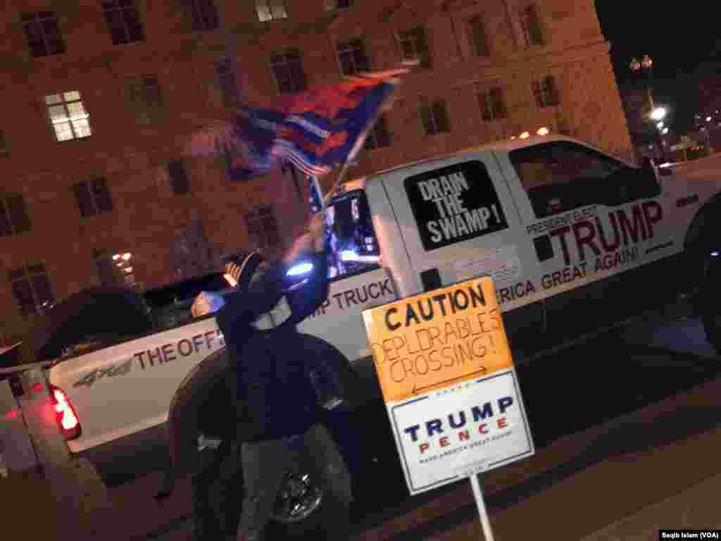 A supporter of President-elect Donald Trump near the White House, Jan. 19, 2017.