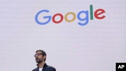FILE - In this file photo dated May 17, 2017, Google CEO Sundar Pichai delivers the keynote address for the Google I/O conference in Mountain View, California.