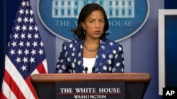 Penasihat Keamanan Nasional AS, Susan Rice berbicara kepada media di Washington DC (foto: dok).
