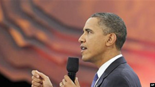 President Barack Obama participates in a youth town hall event broadcast live on BET, CMT and MTV networks, 14 Oct 2010