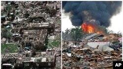 (à g.) Moore après la tornade du 4 mai 1999 et (à dr.) une image de la ville le 20 mai 2013