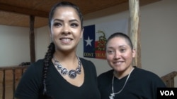 Desaree Reyes and her wife, Marcella. (G. Flakus/VOA)