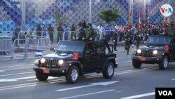 El presidente de Nicaragua, Daniel Ortega, en un desfile del Ejército en Managua el 3 de septiembre de 2021. Foto VOA.
