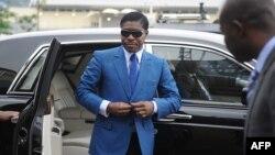 Teodorin Obiang Nguema arrive au stade de Malabo pour les cérémonies de célébration de son 41e anniversaire, le 24 juin 2013. (archives)