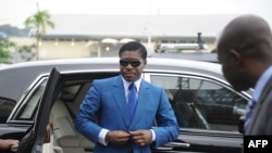 Teodorin Obiang lors d'une cérémonie, Malabo, le 24 janvier 2013