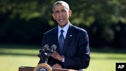 """美國奧巴馬總統9月23日在白宮報告打擊""""伊斯蘭國""""激進組織計劃。"""