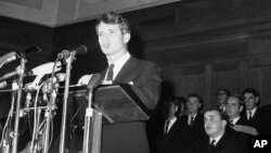 FILE - In this June 6, 1966, file photo, U.S. Senator Robert F. Kennedy, addresses students at Cape Town University, South Africa. In 1966 Kennedy traveled to apartheid South Africa to speak about equality and the rule of law.