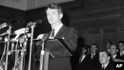 FILE - U.S. Senator Robert Kennedy addresses students at Cape Town University, in Cape Town, South Africa, June 6, 1966.