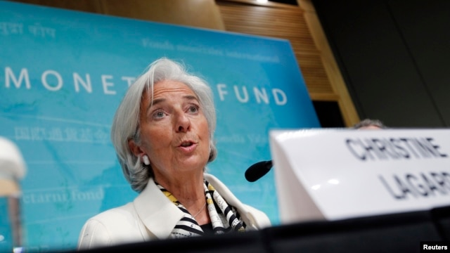 International Monetary Fund Managing Director Christine Lagarde speaks during a news conference at IMF headquarters in Washington, D.C., June 14, 2013.