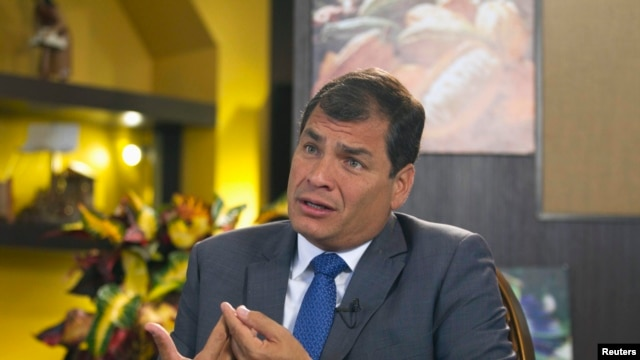 Ecuador's President Rafael Correa gestures during an interview with Reuters in Portoviejo Jun. 30, 2013.