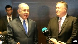 El primer ministro israelí, Benjamin Netanyahu, y el secretario de Estado, de EE.UU., Mike Pompeo, se reunieron en el marco de la conferencia y señalaron que no se puede lograr la paz en Medio Oriente sin enfrentar a Irán en Varsovia, Polonia, el jueves, 14 de febrero de 2019.