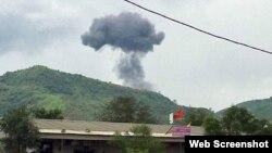 Máy bay huấn luyện của Việt Nam rơi ở huyện Nghĩa Đàn, tỉnh Nghệ An, hôm 26/7/2018. Photo Zing.vn