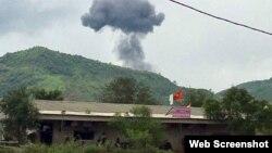 Máy bay huấn luyện của Việt Nam rơi ở huyện Nghĩa Đàn, tỉnh Nghệ An hôm 26/7/2018. Photo Zing.vn