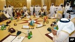 17일 카타르 도하에서 열린 아랍연맹 외무장관 회의.