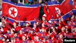 지난 2018 2월 한국 평창동계올림픽 개회식에 북한 응원단이 참석했다.