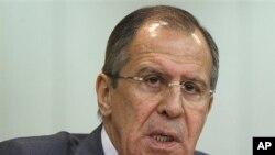 俄羅斯外長拉夫羅夫星期三在莫斯科的新聞發佈會上