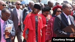 First Lady Grace Mugabe and Vice President Joice Mujuru graduated with PhDs at the University of Zimbabwe on Friday. (Courtesy photo)