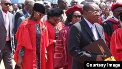 First Lady Grace Mugabe and Vice President Joice Mujuru graduated with PhDs at the University of Zimbabwe on Friday. (Courtesy photo)