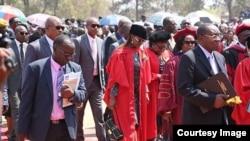 FILE: First Lady Grace Mugabe and Vice President Joice Mujuru graduated with PhDs at the University of Zimbabwe on Friday. (Courtesy photo)