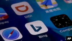 Microsoft Corp.'s Bing app is seen with other mobile apps on a smartphone in Beijing, Jan. 24, 2019. Chinese internet users lost access to Microsoft Corp.'s Bing search engine, triggering grumbling about online censorship.