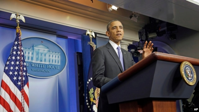 FILE - President Barack Obama makes a statement to reporters in the Brady Press Briefing Room at the White House.
