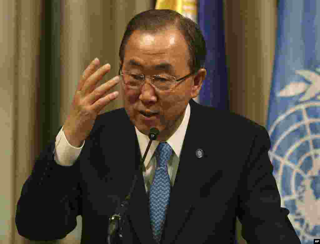 United Nations Secretary-General Ban Ki-moon gestures during a press conference in the Philippines on Sunday Dec. 22, 2013, at which he expressed grave concern about the deteriorating security situation in South Sudan.