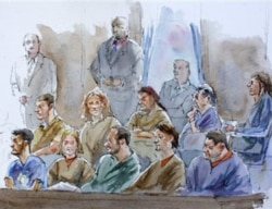 A drawing of the 10 men and women who admitted to being Russian agents in a federal court in New York