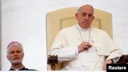 Pope Francis leads his weekly general audience in Saint Peter's Square at the Vatican, Nov. 12, 2014.
