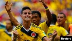 월드컵에 출전한 콜롬비아 대표팀의 주전 공격수 하메스 로드리게스. 4경기에서 5득점을 올리며 득점 선두를 달리고 있다.