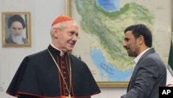 Iranian President Mahmoud Ahmadinejad welcomes Cardinal Jean-Louis Tauran, President of the Pontifical Council for Interreligious Dialogue of Vatican, at the presidency office in Tehran, Iran, 09 Nov 2010