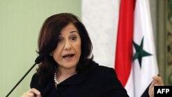Butaina Šaaban, savetnica sirijskog predsednika Bašara al-Asada na konferenciji za novinare u Damasku, 24. marta 2011.