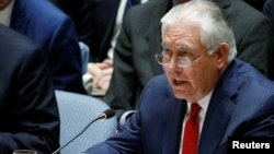 U.S. Secretary of State Rex Tillerson speaks during the United Nations Security Council, Dec. 15, 2017.