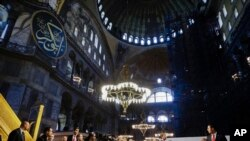 Pope Francis visits the Hagia Sophia, the Byzantine church-turned-mosque that is now a museum, in Istanbul, Nov. 29, 2014.