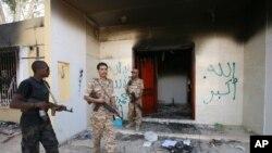 Tòa nhà của Phái bộ ngoại giao của Hoa Kỳ ở thành phố Benghazi sau vụ tấn công chết người ngày 11/9/2012.