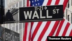 Wall Street, sant komès mondyal la nan Manhattan, New York.