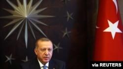 Presiden Turki Tayyip Erdogan di Huber Mansion, Istanbul, Turki, 26 Maret 2020. (Foto: dok).