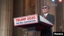 FILE - Chen Guangcheng, a blind Chinese dissident and human rights activist who was granted asylum in the U.S., speaks during the 2020 Republican National Convention broadcast from Washington, Aug. 26, 2020.