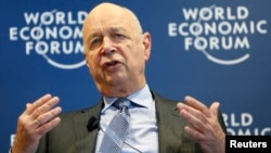 World Economic Forum Executive Chairman and founder Klaus Schwab addresses a news conference in Cologny, near Geneva, Jan. 15, 2014.
