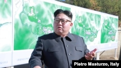 FILE - North Korean leader Kim Jong Un inspects a construction site in Yangdeok, in this undated photo released on October 31, 2018.